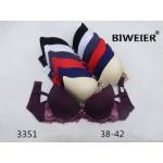 Комплект белья BIWEIER с цветным кружевом (бюстгальтер 3-ка + трусики - слипы)  К3351