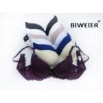 Бюстгальтер BIWEIER с корректором с гладкими чашками и кружевной спинкой, 3-ка  8811C