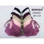 Бюстгальтер BIWEIER с подкладкой с кружевными чашками и гладкой спинкой D-ка  15064D