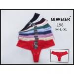 Трусики BIWEIER стринги с кружевом спереди и сзади  198_белый и др. цвета
