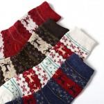 Носочки женские зимние с новогодними узорами  W012