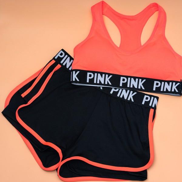 Комплект белья спортивный, PINK, состоящий из топа и шортиков, черный  90616_черный и др. цвета