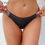Трусики - бразилианы бесшовные | FINETOO |  лазерки с резинками на бедрах, с блестками  X7075