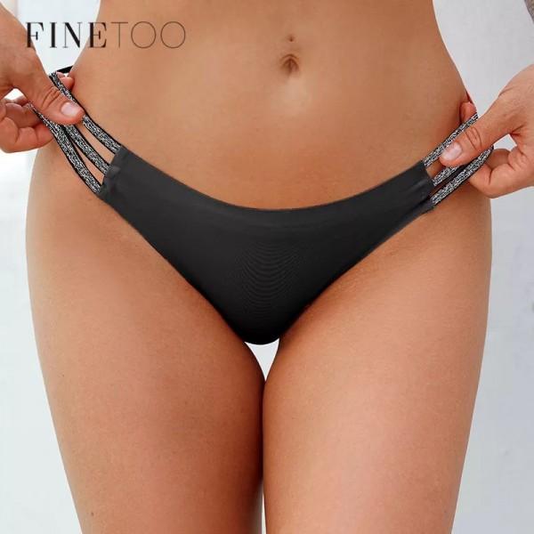 Трусики - бразилианы | FINETOO | бесшовные лазерки с резинками на бедрах, с блестками  X7075