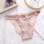 Трусики - слипы | FINETOO | кружевные, на широкой резинке с надписью  L001