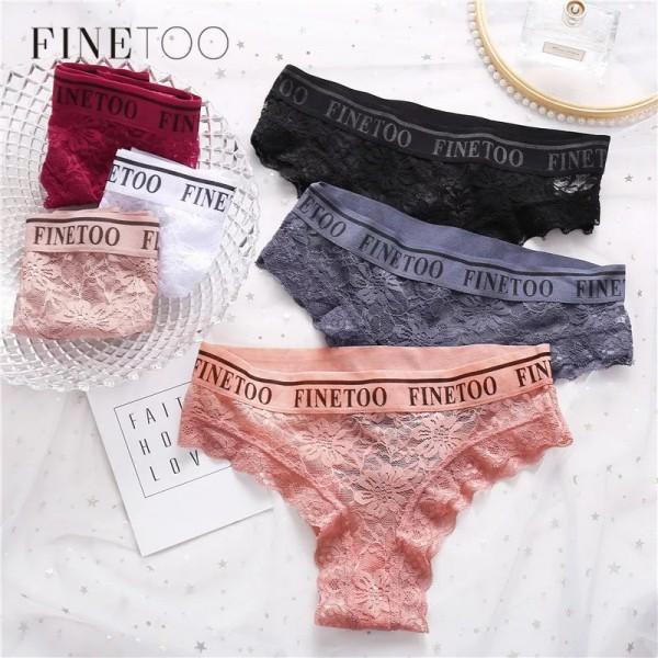 Трусики - слипы | FINETOO | кружевные, на широкой резинке с надписью  L002