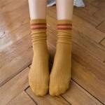 Носочки женские, ZLEEI,  демисезонные, с контрастной резинкой, удлиненные  W021