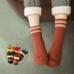 Носочки женские, TUTU ANNA, зимние, вязанные, с узорами и двойной полоской  W024