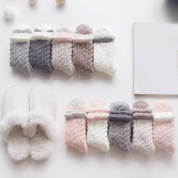 Носочки женские, Yingzifeiwu, зимние махровые  W026_белый