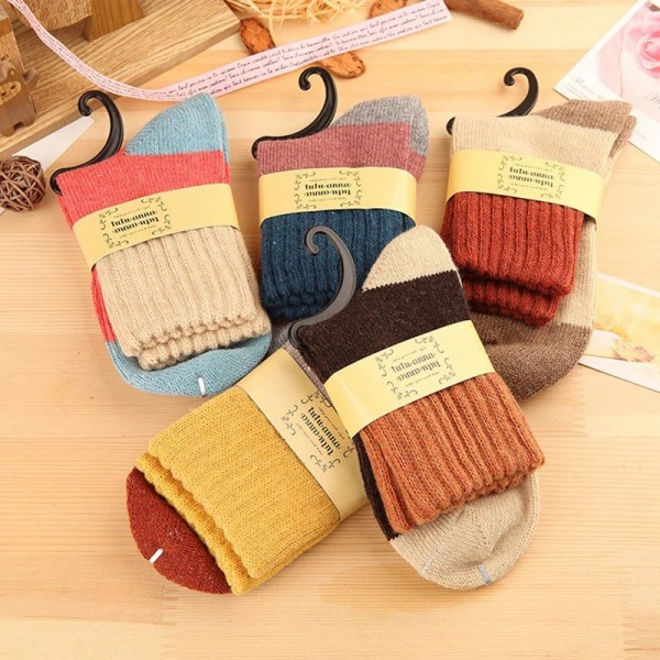 Носочки женские, TUTU ANNA, зимние, вязанные, цветные, широкая резинка  W030