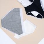 Трусики - слипы из хлопка в рубчик с кружевной резинкой и каемкой  TA06 микс