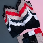 Комплект белья WeiyeSi кружевной  (бюстгальтер 3-ка + трусики)  К7086С_черный и др. цвета