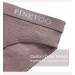 Трусики - слипы из хлопка в рубчик, FINETOO, с брендованной резинкой  3920_белый и др. цввета